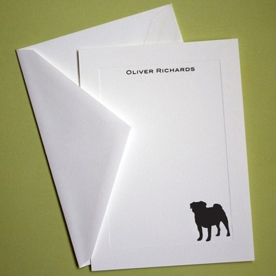 Pug Personalized Stationery - Set of 10 flat paneled cards