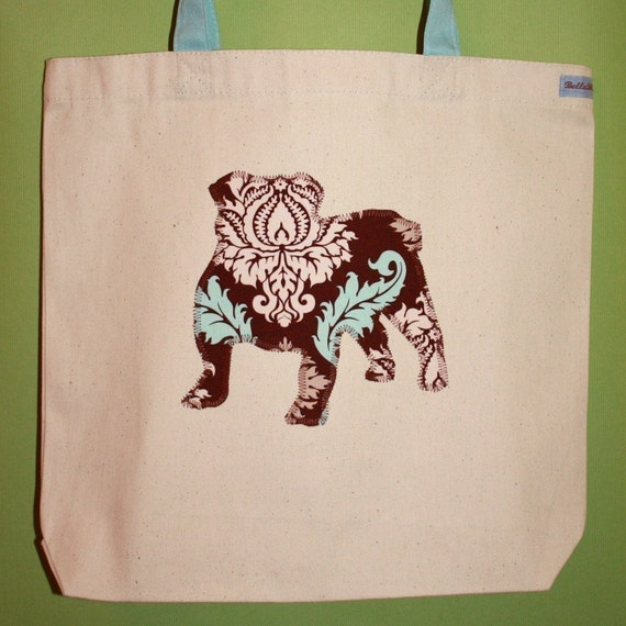 English bulldog tote bag - You pick the fabric and tote handle color