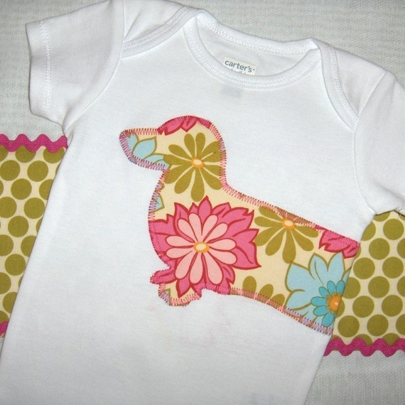 Dachshund bodysuit and burp cloth gift set in pink lei flower and lime polka dot prints