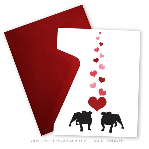 Bulldogs in Love - Valentine card personalized with your message