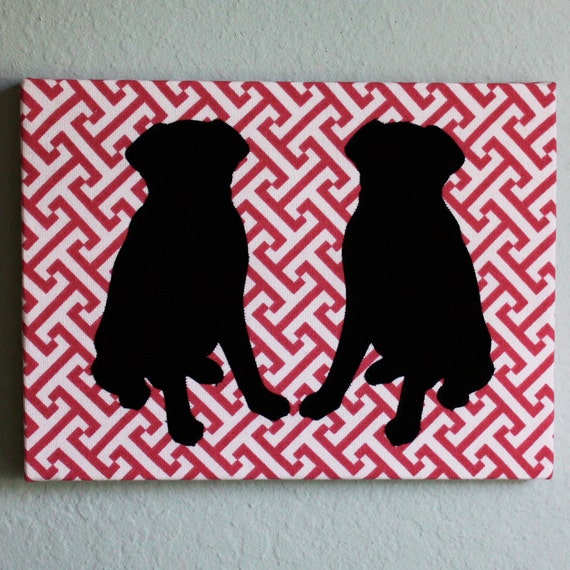 SAMPLE SALE - Black labs appliqued wall panel - 9 x 12 inches