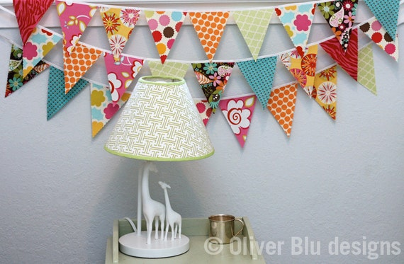 Mini pennant fabric banner - bunting in hot pink, orange, turquoise, and yellow - LIMITED QUANTITY AVAILABLE