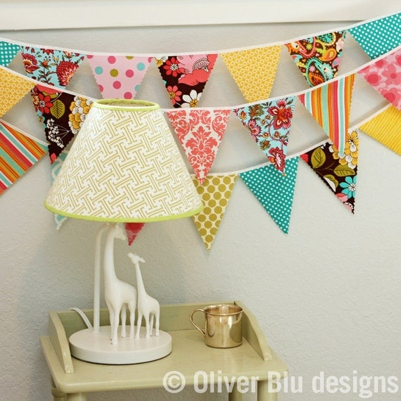 Mini pennant fabric banner - bunting in pink, turquoise, and yellow - LAST TWO AVAILABLE
