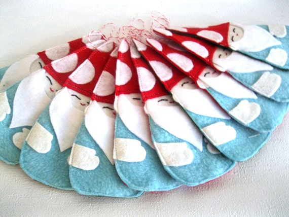 Hanging Valentine's Day Ornament, Holiday Decor, Gnome in Red and Aqua Blue
