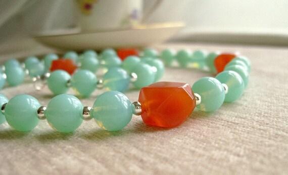 Aqua Opalite Necklace - Red Agate, Silver