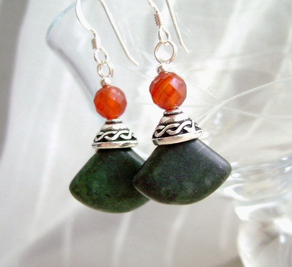 Red Agate Earrings, Gemstone Jewelry, Green Marble, Celtic, Irish, Sterling Silver, Connemara, Love Knot