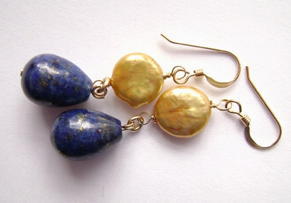 Reserved for Trini. Lapis Earrings - Gold Coin Pearls