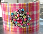 Pink Plaid Cuff Bracelet Colorful Nickel Free Jewelry Metal Bangle