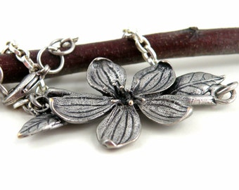 Silver Chain Bracelet Flower Leaf Delicate Jewelry Cottage Chic