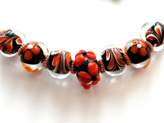 Copper Chain Necklace, Orange and Black Beaded Handcrafted Jewels by Trish
