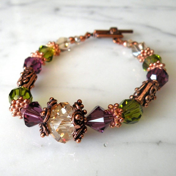 Mardi Gras Jewelry Emerald and Purple Crystal Beaded Bracelet