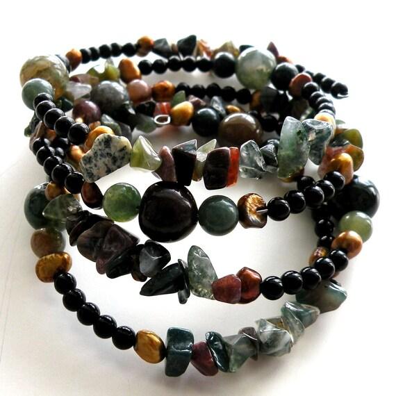 Jasper Memory Wire Bracelet Earth Tones Gemstone Jewelry