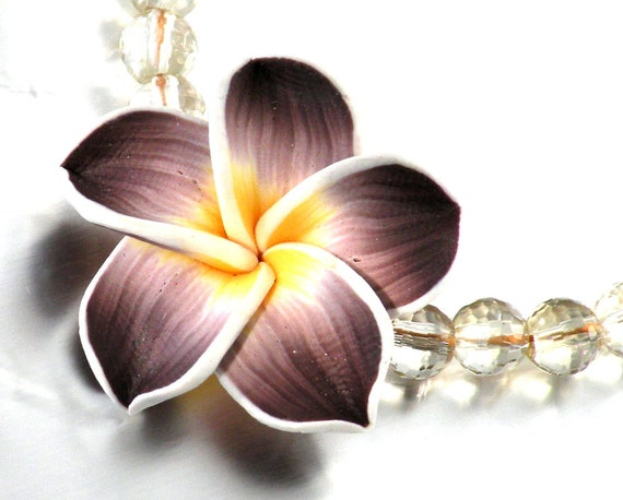 RESERVED*Floral Bracelet Lemon Quartz LSU Jewelry Clay Flower Yellow Bracelet