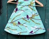 Toddler Girls Aviary Bird Reversible Dress, Custom Order Size 2T and 4T by The Cottage Mama