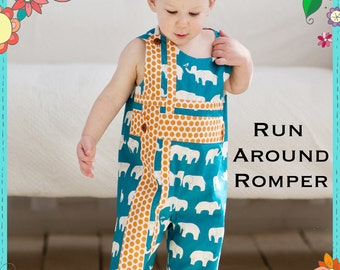 PRINTED Sewing Pattern: Run Around Romper for Boys and Girls - Size 6 Month - 6 Years