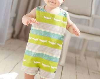 PRINTED PATTERN: Run Around Romper for Boys and Girls - Original Printed Sewing Pattern - Size 6 Month - 6 Years