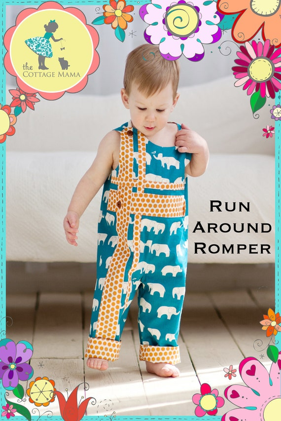 PATTERN: Run Around Romper for Boys and Girls - Original Printed Sewing Pattern - Size 6 Month - 6 Years