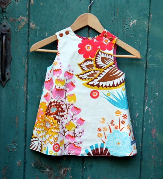 Pink Floral Retro Mod Shift Dress, Size 3T In Stock and Ready to Ship by The Cottage Mama
