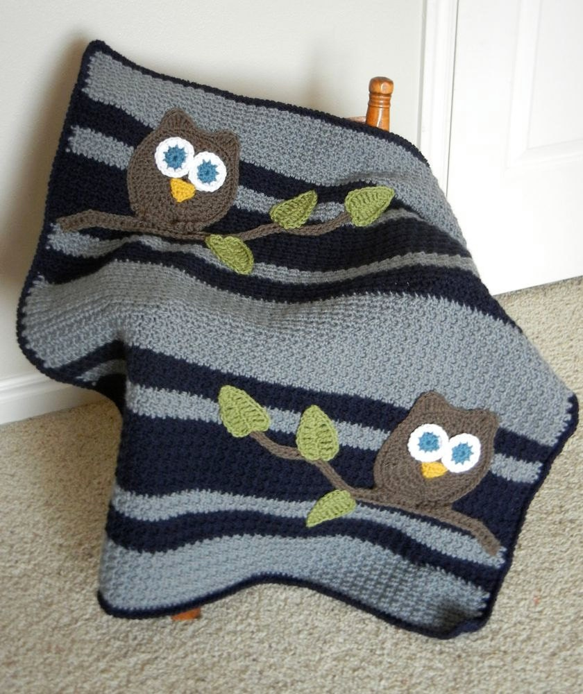 Crochet Owl Baby Blanket : Owl Baby Blanket Boy Baby Shower Gift Navy and Gray by abbycove