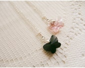 butterfly swarovski crystal necklace with sterling silver bail - black OR pink