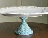 Large Cake Stand Cupcake Pedestal Stand Seashells And Robins Egg Blue By E. Isabella Designs. As Featured In Martha Stewart Weddings.