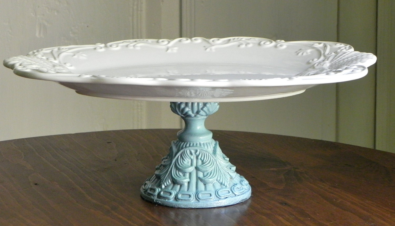large cake stand cupcake pedestal stand seashells and robins