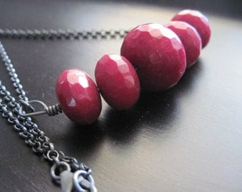 Ruby Quartz Necklace,  Faceted, Oxidized Sterling Silver Chain
