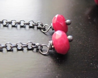 Ruby Faceted Quartz, Oxidized Sterling Silver Dangle Earrings, AAA Quality,