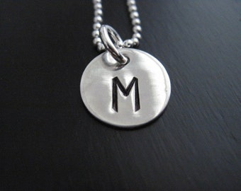 Monogram Stamped Necklace Sterling Silver Initial Pendant