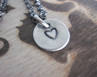 Handstamped Heart Necklace Oxidized Sterling Silver