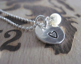 Hand Stamped Heart Necklace Freshwater Pearl Sterling Silver