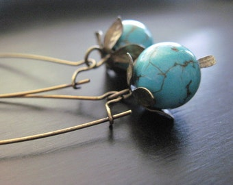Brass and Turquoise Earrings, Kidney Earwires
