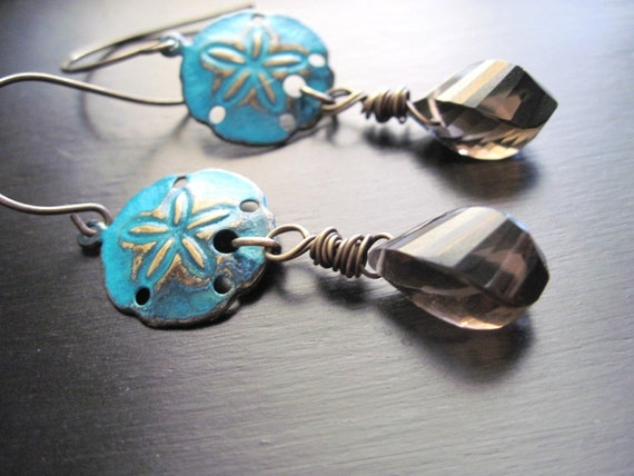 AAA Smoky Quartz Earrings Blue Green Patina Brass Sand Dollar Faceted Spiral Briolette