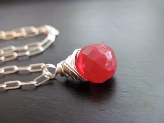 Red Czech Glass Necklace Sterling Silver Wire Wrapped