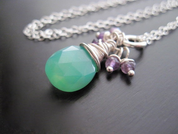 Green Chalcedony Briolette Necklace, Purple Amethyst, Sterling Silver, Wire Wrapped