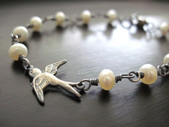 Freshwater Button Pearl Bracelet, Oxidized Sterling Silver Swallow, Wire Wrapped