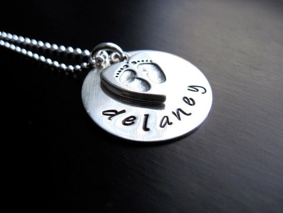 Hand Stamped Mommy Necklace, Sterling Silver, Heart Footprint Charm