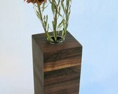 Medium Walnut Wood Vase in Box Style