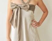 Two tone.... Cream-Brown Cotton Dress