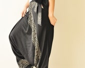 Around The World...Black Printed Rayon Harem Pants /Gypsy Pants/Aladdin Pants/Genie Pants/Yoga Pants /Thai Pants