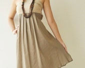 SALE 20% Wind of change Part II.... Cream-Brown Cotton Dress