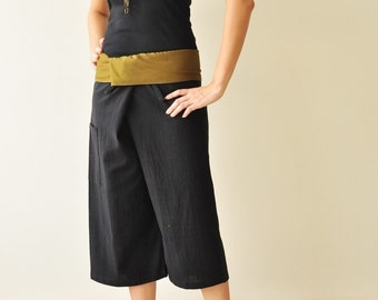 Knee Length black with Olive colour at waist fisherman wrap pants