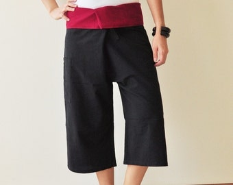 Knee Length black with Red colour at waist fisherman wrap pants