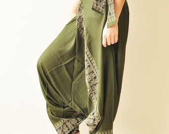 All Around The World...Olive Green Printed Rayon Harem Pants /Gypsy Pants/Aladdin Pants/Genie Pants/Yoga Pants /Thai Pants