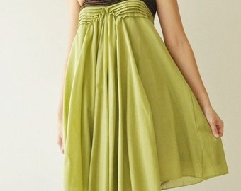 SALE 20% Wind of change.... Green-Brown Cotton Dress 2 Sizes Avaliable