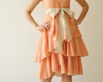 Waft ... Orange-Cream Cocktail Dress 2 Sizes Available