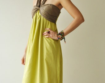 SALE20 % Feel So Good ...Green Brown Halter Maxi Cotton dress  2 Sizes Available