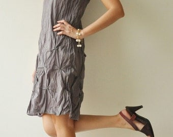 Hexagon  Part II...Gray-Purple Cotton dress