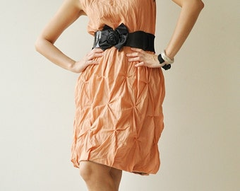 Hexagon  Part II...Orange-Brown Cotton dress