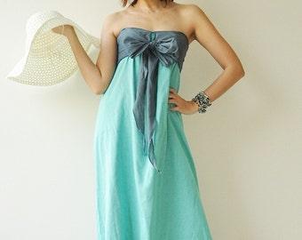 SALE 20% Feel So Good ...Blue Halter Maxi Cotton dress 2 Sizes Available